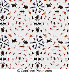 Seamless Creepy Crawlies Background - Illustration