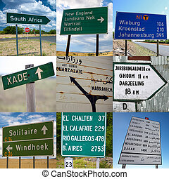 Travel signs - Composition of travel signs in Africa, Asia...