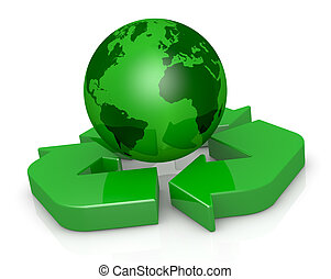 symbol of recycling and earth globe