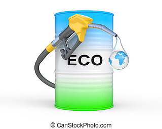 barrel with ECO fuel and gas pump nozzle. Ecological concept