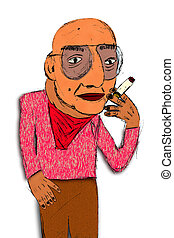 Cartoon, Sketch, of Old Smoker - Digitally colored, hand...