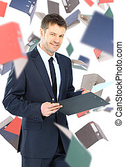 businessman with folders