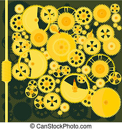 Machine of gears - Vector image of the mechanism of brass...