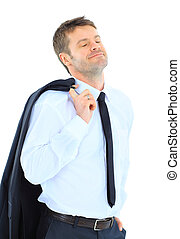 Portrait of a successful business executive holding his coat...