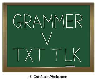 Grammar versus texting - Illustration depicting a green...
