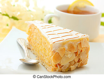 almond cake and cup of tea