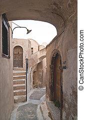 Emporio, aldea, calle, escaleras
