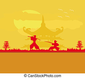 Samurai in Asian Landscape - Samurai silhouette in Asian...