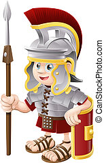 Cartoon Roman Soldier - Illustration of a cute happy Roman...