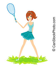 Young girl with a tennis racket over white background