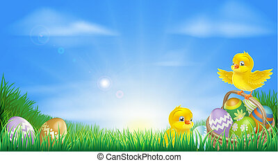 Yellow Easter chicks and eggs backg