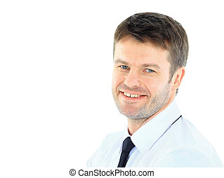 Portrait of young business man with folded hands against white background