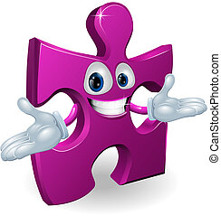 Jigsaw character - A happy smiling purple jigsaw piece...