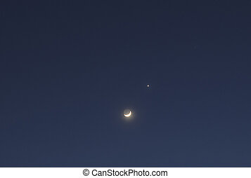 The moon and venus - Night sky with crescent moon and venus