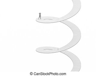 3d people - human character - climb the spiral staircase -...