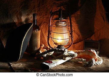 Pirate of the still life of wine, hats, ropes, sinks,...