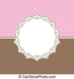Cute background with decorative border in pink and brown