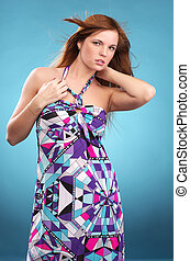 Fashionable woman in sundress - Attractive young woman in...