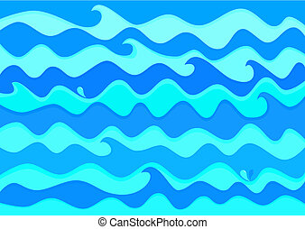 Sea surface - Abstract vector drawing waves on the sea...