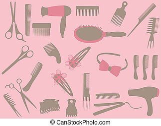 Hairdresser elements on  the pink background