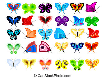 Set of butterflies - A set of colorful butterflies in the...