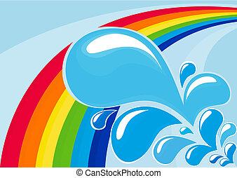 Rainbow and water drops - Abstract vector image with rainbow...