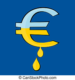 The Euro symbol with drops - The Euro symbol from which the...