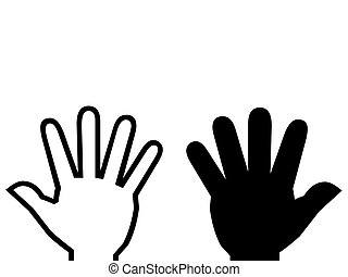 White hand, black hand illustration - black and white hands,...