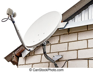 Satellite dish antenna on house