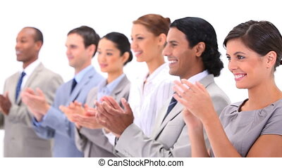 People in suits are applauding against white background