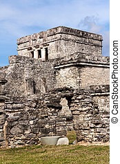 Mayan Building at Tulum Mexico - Mayan building complex at...