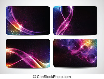 Colorful business cards with magic light and bright colors