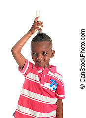 African American child with black bulb isolated