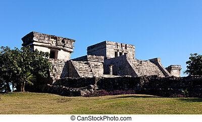 Mayan Palace at Tulum - Remains of a Mayan Palace at Tulum,...