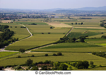 Agricultural landscape full of fields, Baden-Wurttemberg,...