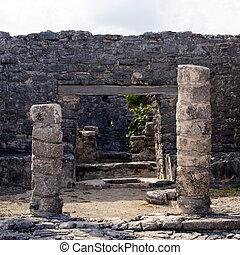 Mayan Portal at Tulum - Portal into Mayan ruins at the...