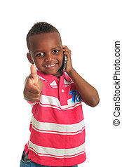 African American child with black telephone isolated