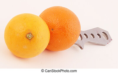 oranges - Oranges with a knife