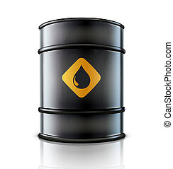 Metal oil barrel - illustration of black metal oil barrel on...