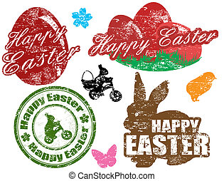 Easter stamps - Set of isolated grunge Easter stamps on...