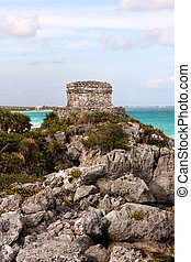 Mayan Ruins on a Cliff above the Ocean - Mayan ruins on a...