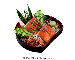 salmon sashimi - Fresh salmon sashimi with vegetable