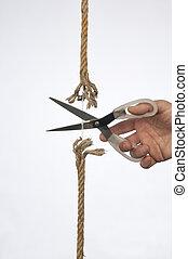 Cutting a rope