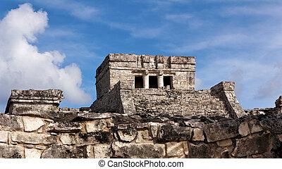 Mayan Temple at Tulum - Mayan ruins at the archeological...