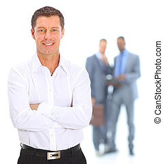 Closeup portrait of young male executive smiling with...