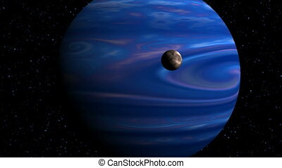 Gas Giant and moon - The major blue planet slowly rotates...