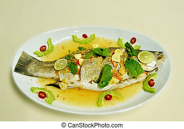 steamed fish - Steamed snapper fish with lemon ,spicy food