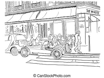 On the streets of Paris - Vector illustration of the streets...
