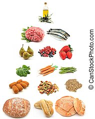 Healthy food pyramid surrounded by white background