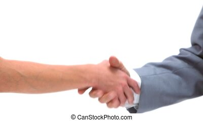 Businesswoman shaking a man's hand against white background